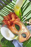Venetian mask and flowers Stock Image