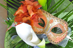 Venetian mask and flowers. Shoot in studio Stock Images