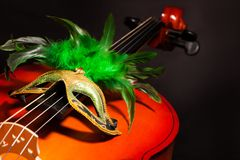 Venetian mask with green feathers on violoncello Royalty Free Stock Photos
