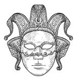Venetian mask illustration, drawing, engraving, ink, line art, vector. Venetian mask Illustration, what made by ink, then it was digitalized Royalty Free Stock Images
