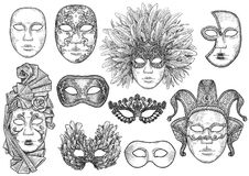 Venetian mask illustration, drawing, engraving, ink, line art, vector. Venetian mask Illustration, what made by ink, then it was digitalized royalty free illustration