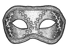 Venetian mask illustration, drawing, engraving, ink, line art, vector. Venetian mask Illustration, what made by ink, then it was digitalized Royalty Free Stock Photography