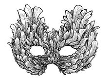 Venetian mask illustration, drawing, engraving, ink, line art, vector. Venetian mask Illustration, what made by ink, then it was digitalized Royalty Free Stock Photo