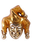 Venetian mask isolated. Golden Venetian mask of smiling Joker isolated on white