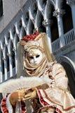 Venetian mask with marble pillars Stock Photos