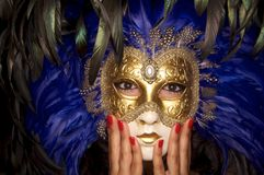 Venetian Mask with nail beauty Royalty Free Stock Photos