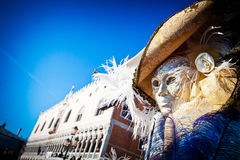 Venetian Mask and Palazzo Ducale Stock Photography
