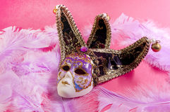 Venetian mask on a pink background Royalty Free Stock Photo