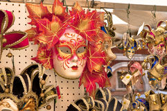 Venetian Mask. The red Venetian mask at the market of Venice Royalty Free Stock Photo