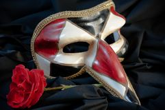 Mask. Venetian mask with red rose Royalty Free Stock Image