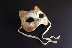 Venetian mask in the shape of a cat for carnival royalty free stock photos