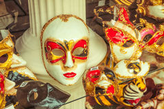 Venetian mask. Souvenir mask - handmade venetian art available to buy in Venice, Italy royalty free stock image