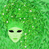 Venetian mask - spring. Venetian mask - green spring - e-collage Royalty Free Stock Photography