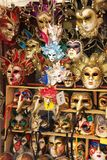 Venetian mask store. Shelves with traditional hand painted Venetian masks in Venice, Italy Royalty Free Stock Image