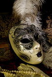 Venetian mask. Venetian theater mask in vintage setting Stock Photography