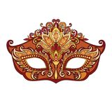 Venetian mask. Vector illustration of masked golden mask for theater and festivals, colorful bright Venetian mask decorated with floral ornaments on white Stock Photography
