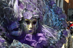 Venetian mask in violet royalty free stock photos