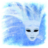 Venetian mask - winter. All drawing, drybrushing etc - mine Royalty Free Stock Photo