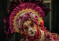 Venetian Masked Model. During Carnevale Stock Photos