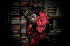 Venetian Masked Model. During Carnevale Royalty Free Stock Photography