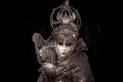 Venetian Masked Model. During Carnevale Stock Images