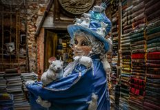 Venetian Masked Model. During Carnevale Stock Image