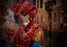 Venetian Masked Model. During Carnevale Stock Photography