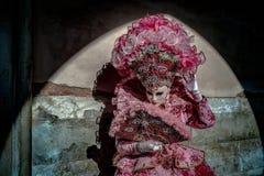 Venetian Masked Model. Masked models  of the Venetian Carnevale Stock Photos
