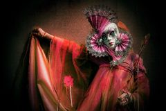 Venetian Masked Model. Masked models  of the Venetian Carnevale Royalty Free Stock Photos