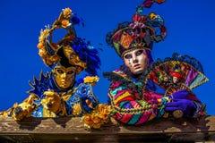 Venetian Masked Models. Masked models  of the Venetian Carnevale Stock Images