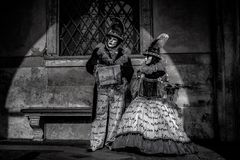 Venetian Masked Models. During Carnevale Royalty Free Stock Photo