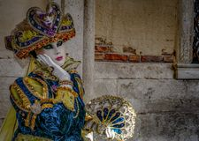 Venetian Masked Models. During Carnevale Royalty Free Stock Photos