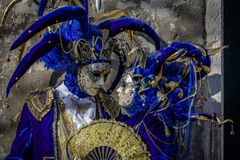 Venetian Masked Models. During Carnevale Royalty Free Stock Images