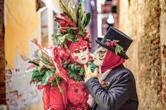 Venetian Masked Models. During Carnevale Royalty Free Stock Photography