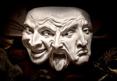 Venetian maskering med lyckliga uttryck -, tokigt, ledset Arkivfoto