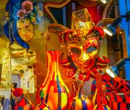 Venetian maskeringar Glass Venedig Italien Arkivfoton