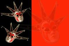 Venetian maskeringar på en svart och en röd bakgrund Royaltyfri Foto