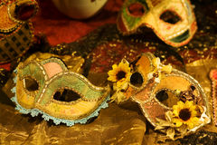 Venetian masks. Handcrafted Venetian carnival mask on display at store
