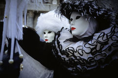 Venetian masks. Public participation in the Venice Carnival parade Royalty Free Stock Images