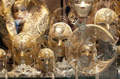 Venetian Masks. Souvenirs' shop in Venice - golden masks Stock Photography