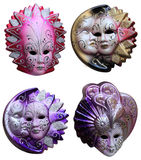 Venetian masks. Collage of four colorful Venetian masks isolated against a white background Stock Photos