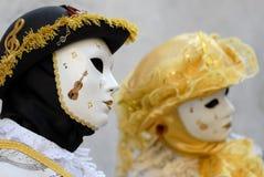 Venetian Masks. During Venetian Carnival Royalty Free Stock Photo