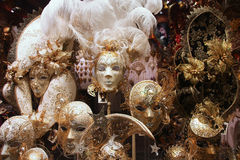 Venetian masks. VENICE - SEPTEMBER 15: Venetian masks in store display on September 15, 2009 in Venice. Annual carnival in Venice is among the most famous in Stock Photos