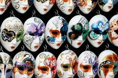 Venetian Masks. Display of masks in Venice, Italy Stock Images