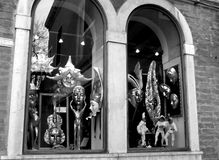 Venetian masks. Reneissance-stype show-window with masks in Venice, Italy; black and white image