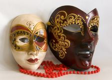 Venetian masks. Male and female Venetian Masks Royalty Free Stock Photography