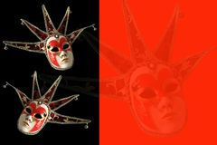 Venetian masks on a black and red background. Royalty Free Stock Photo
