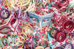 Venetian masks with confetti royalty free stock images