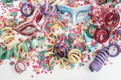 Venetian masks with confetti stock photos