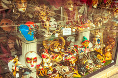 Venetian masks display window Royalty Free Stock Photography